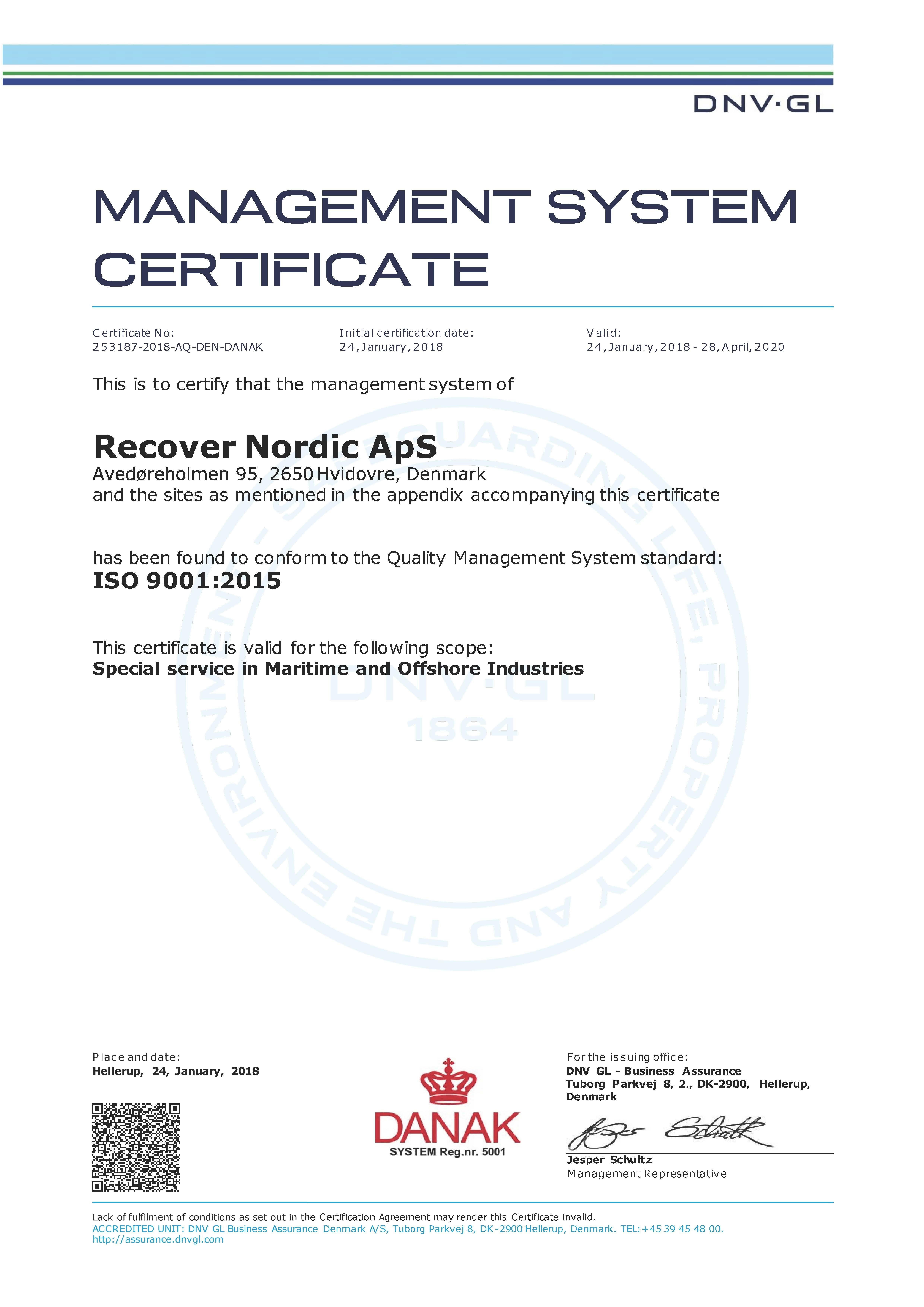 Recover Nordic ApS has received